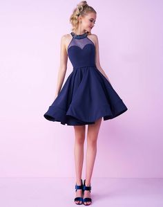 Mac Duggal Homecoming - 48551N Beaded Halter Illusion Cocktail Dress http://shopstyle.it/l/fhVu