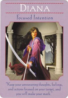 The meaning of the Diana card from the Goddess Guidance Oracle Cards by Doreen Virtue. Angel Guidance, Spiritual Guidance, Wicca, Magick, Artemis Goddess, Moon Goddess, Oracle Tarot, Oracle Deck, Angel Cards