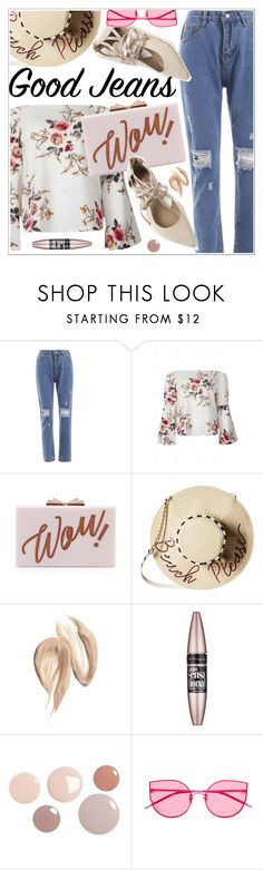 """Tear it Up: Distressed Denim"" by teoecar ❤ liked on Polyvore featuring Ted Baker, Betsey Johnson, Maybelline and Gentle Monster"