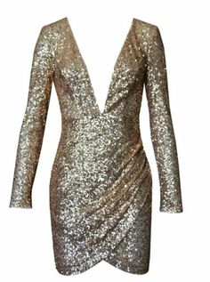 Long Sleeve Low Cut Plunging Gold Sequin Mini Dress
