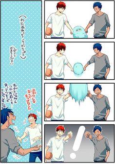Our Life --- Kuroko no Harem ! Cute Anime Boy, Cute Anime Couples, Anime Guys, Manga Anime, Kuroko No Basket, Cute Comics, Funny Comics, Kagami Kuroko, Kagami Taiga