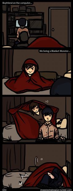 Blanket monster strikes again! Me and Doll (comic, I think I'm in love with a derp)
