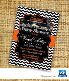 Deaddy and mummy to be couples halloween baby shower invitation on halloween baby shower invitation chevron boy girl by 225designs halloween invitations filmwisefo