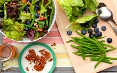 Greens and Green Beans Salad with Blueberry Dressing // For a heartier salad, use kale! #summer #salad #recipe #berries