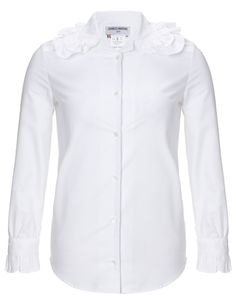 White Cotton Ruffle Collar Blouse   Charles Anastase   Avenue32