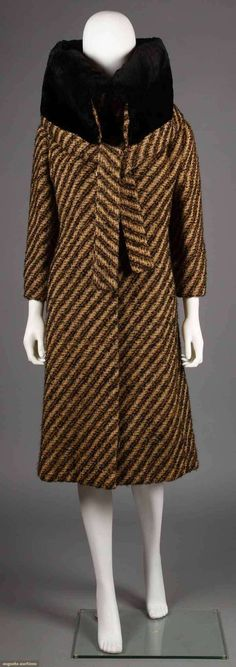 hand-woven wool in ivory, brown, & gold diagonal stripes, huge black sealskin collar, bracelet-length sleeves. Image 1 of Go Back Lot: 294 October 2018 1930s Fashion, French Fashion, Vintage Fashion, Jeanne Lanvin, Clothing And Textile, Historical Clothing, Historical Costume, Vintage Coat, Fashion Colours