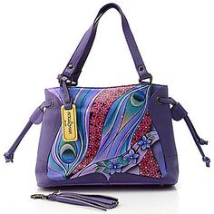 Anuschka Hand-Painted Leather Drawstring Triple Compartment Handbag w/ Strap