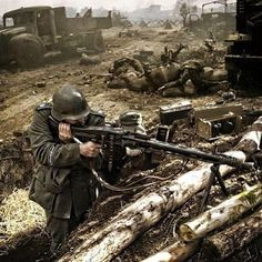 WEBSTA @ worldwar2foryou - This picture depicts a reenacting German Wehrmacht MG-42 team. They fire upon Soviet positions during the Siege of Sevastopol, fought from October 30th of 1941, during Operation Barbarossa, to July 4th of 1942, to July 4th of 1942.The MG-42 was a very new weapon for the German army, hence being called the MG-42 (1942), and would soon gain a irrefutable reputation.The machine gun would be the fastest and deadliest of its time, and came after the MG-34 (1934).Both…