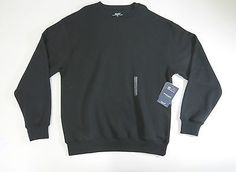 Roundtree & Yorke Sport Mens Black Crew Neck ProLuxe Fleece Sweater Large NWOT