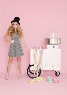 What a wonderful addition to an event- a grown up cotton candy cart! | Glitter Girl: Cloe Lane Of Bon Puf