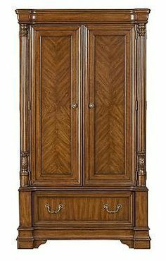 Beckeham Armoire - Pulask - 626120-21 by Pulsaki Furniture Company. $1522.50. Design your own dream bedroom from this lovely collection. The Beckenham bedroom furniture is all made of solid wood and real wood veneer to ensure a luxurious finish with timeless appeal. Offered in a choice of sizes and styles, the drawer units all feature quality dovetailed drawers and acanthus leaf carving to match the elegant carved beds. This lovely furniture is finished with ant...