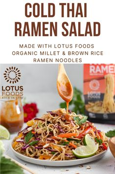 Cold Thai Ramen Noodle Salad with Almond Dressing made with Organic Millet Ramen Salad, Ramen Noodle Salad, Ramen Noodle Recipes, Ramen Noodles, Asian Noodles, Noodle Bowls, How To Make Salad, Food To Make, Dairy Free Baking