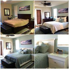 Light bedroom set looks great with coastal look. Painted Jeromes dark bed set in Benjamin Moore Swiss Coffee, satin. Full details on my blog jennyleeblogs.com