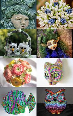 Bouquets and faces of polymer clay by Lorraine on Etsy--Pinned with TreasuryPin.com