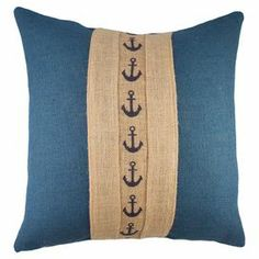"Burlap pillow, featuring an anchor-print stripe. Handmade in the USA.  Product: PillowConstruction Material: BurlapColor: Blue and beigeFeatures:  Made in the USAZipper closureHandmade by TheWatsonShopInsert included Dimensions: 16"" x 16"" sale 54.95"