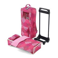 18 Inch Doll Accessories   Amazing Travel Doll Carrier with Window, Includes Trolley, Backpack Straps, Loads of Storage, and Removable Doll Bed with Bedding   Fits American Girl Dolls >>> Check out the image by visiting the link.