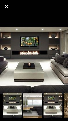 Love it basement living room designs, living room tv и basement bedrooms. Living Room Tv Unit, Living Room With Fireplace, Home Living Room, Living Room Designs, Living Room Decor, Fireplace Tv Wall, Tv Wall Ideas Living Room, Basement Fireplace, Tv Wall Decor