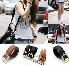 Fashion-Casual-Women-Multicolor-Waistband-Belt-Buckle-Adjustable-Unisex-Belts $4.70