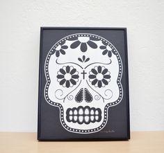 Dia De Los Muertos/Day of the Dead Skull  White by emveeprints