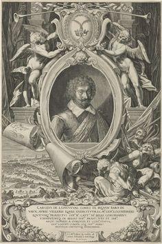 Aegidius Sadeler   Portret van Karel Bonaventura de Longueval, graaf van Buquoy, Aegidius Sadeler, 1621   Portret van Karel Bonaventura de Longueval, graaf van Buquoy, veldheer en veldmaarschalk in de 30-jarige oorlog. Portret in ornamentale omlijsting met bovenop twee engelen met het wapen en motto van Bonaventura: 'ex utraque gloria'. In de krullen van het perkament het portret van Aegidius Sadeler. Rechtsonder geketende figuren; linksonder veldslag (de Slag op de Witte Berg, 1620). De…
