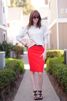 Orange Pencil Skirt and Loose Sweater ~ Thread Ethic | Modest Fashion Blog