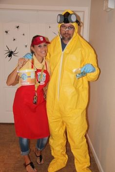 Breaking Bad costume idea: Hazmat suit and gas mask ordered from Amazon. Blank Red apron, visor, and BB lanyard ordered from Amazon. Created decals on computer and ironed on to apron and visor
