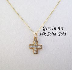 Solid Gold Cross necklaceDainty gold cross pendantsimple