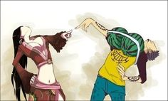 """The """"Extreme Looking Down on You"""" Pose, as modeled by Boa Hancock and Trafalgar Law."""