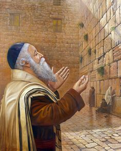 Power of Praying at the Western wall (Kotel) in Jerusalem. Painting by Alex Levin Arte Judaica, Sufi Saints, Temple In Jerusalem, The Little Drummer Boy, Biblical Hebrew, Religion, Jewish Art, Old Paintings, Before Us