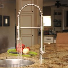 @Overstock - This Fontaine residential spring kitchen faucet is ideal to update your kitchen with a gourmet look. This faucet spout features a dual function spray nozzle and has drip-free ceramic disc cartridges. http://www.overstock.com/Home-Garden/Fontaine-Brushed-Nickel-Residential-Spring-Kitchen-Faucet/4463192/product.html?CID=214117 $189.99