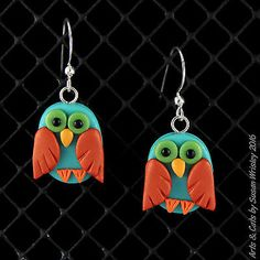Teal Gold-Red Owls Autumn Halloween Earrings - SWris in Collectibles, Animals, Birds   eBay. Hal and Howie Hootertoot are Urban Treat Owls. These rare owls enjoyhanging around,gettingcompliments and sleeping. Their diet consists primarily of candy corn andpeanut-butter cups, but they have also been known to eat caramel apples.