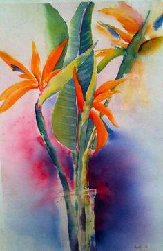 Bird of Paradise Watercolour Original painting by ArtByAune