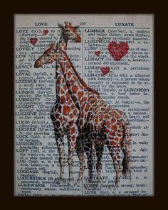 Vintage Dictionary Print  Giraffes in LOVE by angelportraitsbyalma