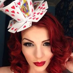 How to make a Queen of Hearts teacup fascinator from playing cards. - Tricky Little Corset