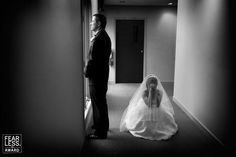 """Collection 28 Fearless Award by ANNE HOLLAND (Boulder, CO)  http://www.fearlessphotographers.com/photographers.cfm?photogID=1210&anne-holland  """"Presenting this image in black & white stripped the scene down to the bride and groom, each left to his or her own thoughts. We are left to imagine the story and fill in the mystery."""""""