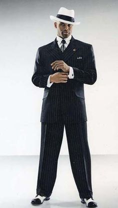 Stacy Adams 3 Piece Suit with Peak Lapels, Gangster Stripes. Luxurious Feel Poly/Rayon.  Buy Now at http://yesufashions.com/catalog/mens-collection-c-24.html