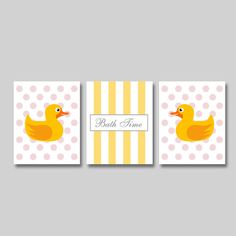 Bathroom Wall Art Print   Set Of Three   Inches   Bath Time   Duckies/Dots    Pick Your Colors   Kids Bathroom   Rubber Duck