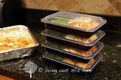 Living Out His Love: Individually frozen dinners Individual Freezer Meals, Freeze Ahead Meals, Bulk Cooking, Freezer Cooking, Cheap Meals, Easy Meals, Husband Lunch, Pre Made Meals, Frozen Meals