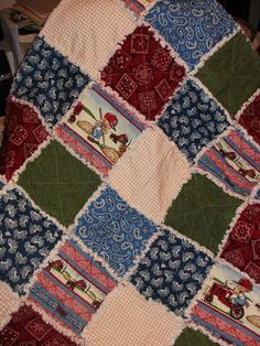 Baby Boy Rag Quilt...What Happens on My Tractor by countrypickens, $35.00