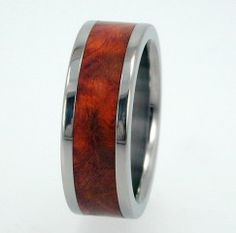 Interchangeable Replaceable Wood Ring Titanium by jewelrybyjohan