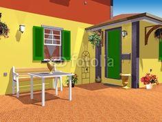 Country Home Esterior-3D © bluedarkat