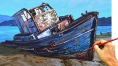 Acrylic Painting Lessons, Learn To Paint, Landscape Paintings, Painting Tutorials, Acrylics, Boats, Youtube, Art, Wood Tool Box
