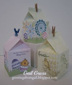 The CTMH Cricut Artiste cartridge cuts these cute milk cartons - then you can decorate them any way you like.  The new mini clothespins (CTMH) are perfect for closing the top once you've added goodies!