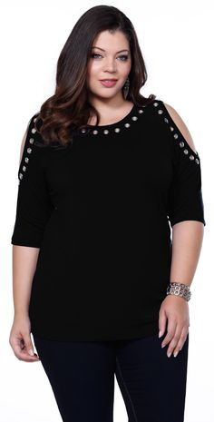 Show off your shoulders in this black cut out plus size clothing top by Belldini.
