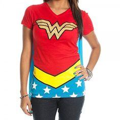 DC Comics Wonder Woman Glitter Juniors Red V-neck Tee (X-Large)
