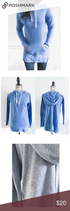 """Blue Long Fitting Hoody This hoody has a stylish long fit. Its a great go to piece for those days you just want to wear something cute, but laid back. It's effortlessly cool. {actual color of item may vary slightly from pics}  *chest:20"""" *waist:20.5"""" *length:28""""/30.5"""" *sleeves:21"""" *material/care:polyester/rayon/machine wash *fit:oversized *condition:pre-loved, has a really light spot on back from detergent, might come out after a few consecutive washes no rips  🌸20% off bundles of 3/more…"""
