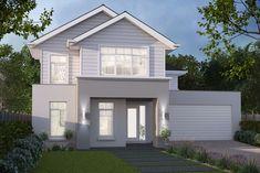 House Design: Madison - Porter Davis Homes New England Facade American Style House, American Houses, Hamptons Style Homes, Hamptons House, House Paint Exterior, Exterior House Colors, Facade Design, Exterior Design, Rendered Houses