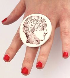 Phrenology Head Ring   big bold oversized handmade by StudioLeanne, $33.00