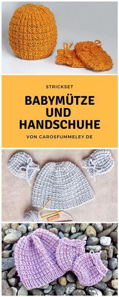 Strickanleitung für Babymütze und Fäustlinge - einfache und für Anfänger geeignete DIY - Strickanleitung