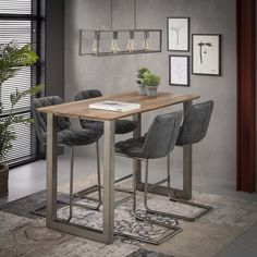 MASI # bar table cm, material MDF / # steel, oak colored, Small # kitchen or home # home bar - the bar table cuts a good figure everywhere! Shabby, Coffee Shop Design, Oak Color, Interior Inspiration, Kitchen Remodel, Dining Table, Living Room, Furniture, Home Decor
